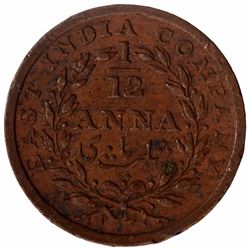 Copper One Twelfth Anna Coin of East India Company of Madras Mint of 1835.