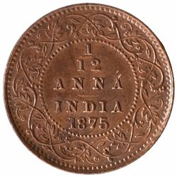 Copper One Twelfth Anna Coin of Queen Victoria of Calcutta Mint of 1875
