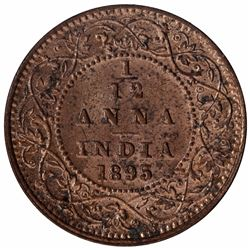 Copper One Twelfth Anna Coin of Victoria Empress of Calcutta Mint of 1895.