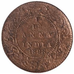 Copper One Twelfth Anna Coin of Victora Empress of 1898.