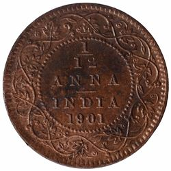 Copper One Twelfth Anna Coin of Victoria Empress of 1901.