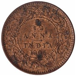 Bronze One Twelfth Anna Coin of King Edward VII of 1906.