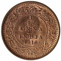 Bronze one Twelfth Anna Coin of King George V of Calcutta Mint of 1916.