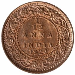 Bronze One Twelfth Anna Coin of King George V of Bombay Mint of 1924.