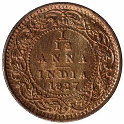 Bronze One Twelfth Anna Coin of King George V of Bombay Mint of 1927.