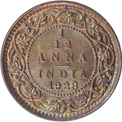 Bronze One Twelfth Anna Coin of King George V of Bombay Mint of 1928.
