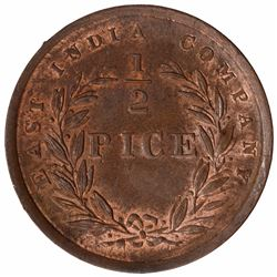 Copper Half Pice Coin of East India Company of Calcutta Mint of 1853.
