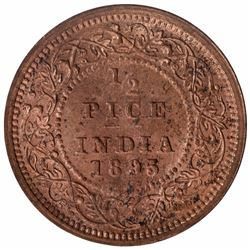 Copper Half Pice Coin of Victoria Empress of Calcutta Mint of 1895.