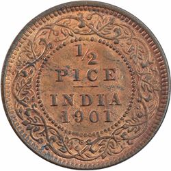 Copper Half Pice Coin of Victoria Empress of Calcutta Mint of 1901.