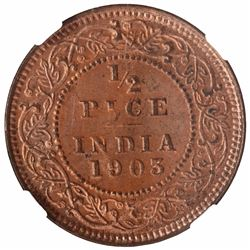 Copper Half Pice Coin of King Edward VII of Calcutta Mint of 1903.