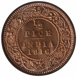 Bronze Half Pice Coin of King George V of Calcutta Mint of 1916