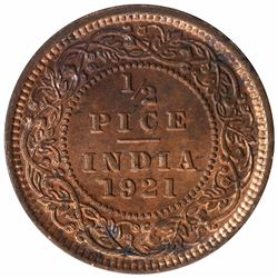 Bronze Half Pice Coin of King George V of Calcutta Mint of  1921.