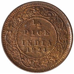 Copper Hlaf Pice Coin of King George V of Calcutta Mint of 1924.