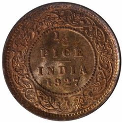 Bronze Half Pice Coin of Kind George V of Calcutta Mint of 1927.