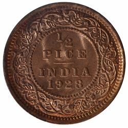 Bronze Half Pice of King George V of Calcutta Mint of 1928.