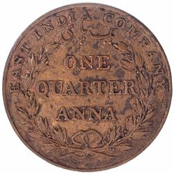 Rare Copper Quarter Anna Coin of East India Company of Bombay Mint of 1835.
