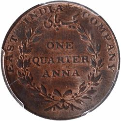 Copper One Quarter Anna Coin of East India Company of Madras Mint of 1835.
