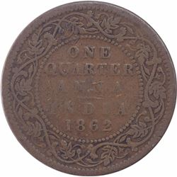 Copper One Quarter Anna Coin of Victoria Queen of Bombay Mint of 1862.