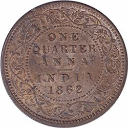 Copper One Quarter Anna Coin of Victoria Queen of Calcutta Mint of 1862.
