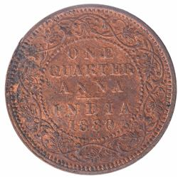 Copper One Quarter Anna Coin of Victoria Empress of Calcutta Mint of 1880.