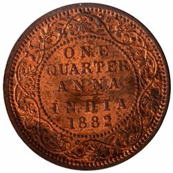 Copper One Quarter Anna Coin of Victoria Empress of Calcutta Mint of 1882.