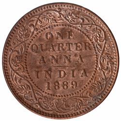Copper One Quarter Anna Coin of Victoria Empress of Bombay Mint of 1889.