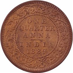 Copper One Quarter Anna Coin of Victoria Empress of Calcutta Mint of 1889.