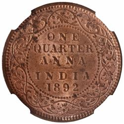Copper One Quarter Anna Coin of Victoria Empress of Calcutta Mint of 1892.