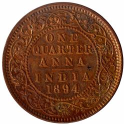 Copper One Quarter Anna Coin of Victoria Empress of Calcutta Mint of 1894.