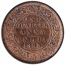 Copper One Quarter Anna Coin of Victoria Empress of Calcutta Mint of 1895.