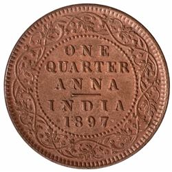 Copper One Quarter Anna Coin of Victoria Empress of Calcutta Mint of 1897.