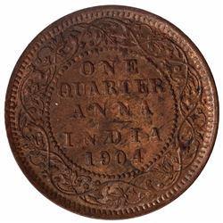 Bronze One Quarter Anna Coin of Calcutta Mint of 1904.