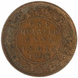 Bronze One Quarter Anna Coin of King Edward VII of Calcutta Mint of 1906.