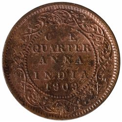 Bronze One Quarter Anna Coin of King Edward VII Calcutta Mint of 1909.