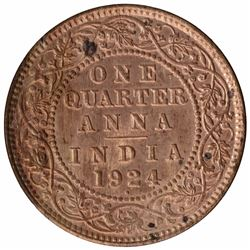 Copper One Quarter Anna Coin of King George V of Bombay Mint of 1924.