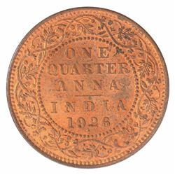 Copper One Quarter Anna Coin of King George V of Bombay Mint of 1926.