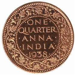 Bronze One Quarter Anna Proof Coin of King George VI of Calcutta Mint of 1938.