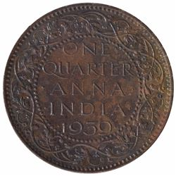Extremely Rare Bronze One Quarter Anna Coin of King George VI of Calcutta Mint of  1939.