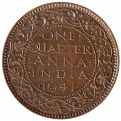Copper One Quarter Anna Coin of King George VI of Bombay Mint of 1941.