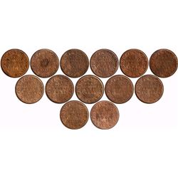 Copper One Quarter Anna Coins of King George V of Different Years.