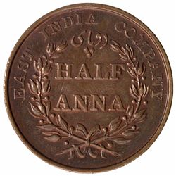 Copper Half Anna Coin of East India Company of Madras Mint of 1835.