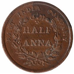 Copper Half Anna Coin of East India Company of Calcutta  Mint of 1845.