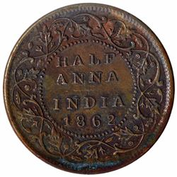 Copper Half Anna Coin of Victoria Queen of Madras Mint of 1862.