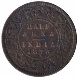 Copper Half Anna Coin of Victoria Queen of Calcutta Mint of 1875.