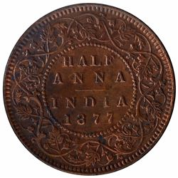 Copper Half Anna Coin of Victoria Empress of Bombay Mint of 1877.