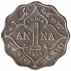 Copper Nickel One Anna Coin of King George V of Bombay Mint of 1915.