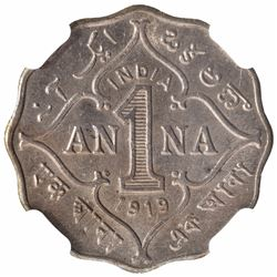 Copper Nickel One Anna Coin of King George V of Bombay Mint of 1919.