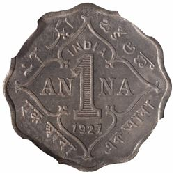 Copper Nickel One Anna Coin of King George V of Calcutta Mint of 1927.
