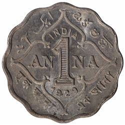 Copper Nickel One Anna Coin of King George V of Calcutta Mint of 1929.