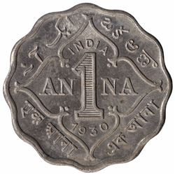 Copper Nickel One Anna Coin of King George V of Calcutta Mint of  1930.